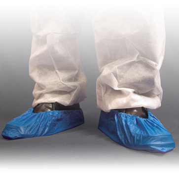 Blue polythene overshoes