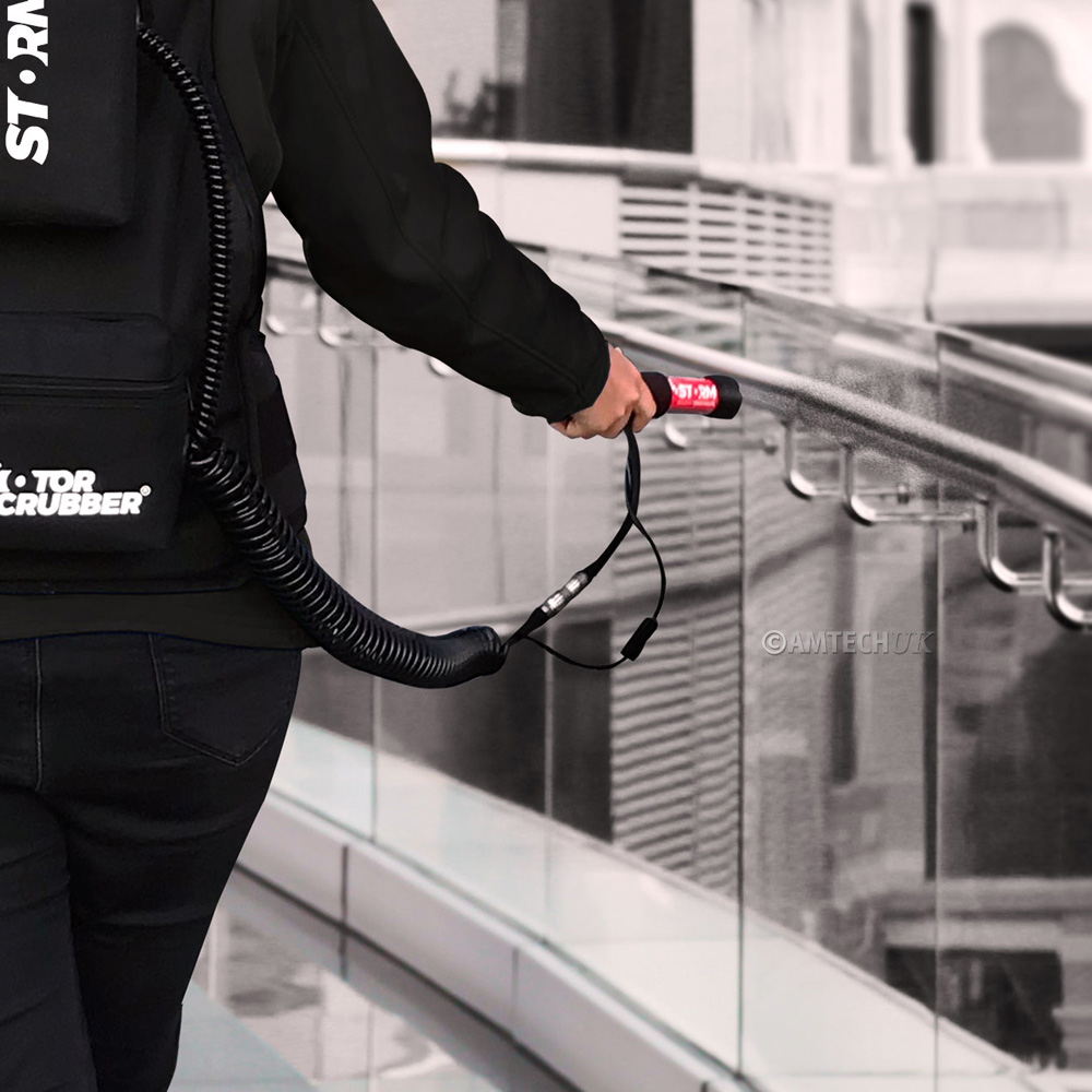 MotorScrubber Storm is great for disinfecting handrails.