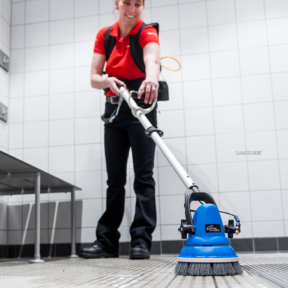 MotorScrubber Jet cleaning a changing room floor.