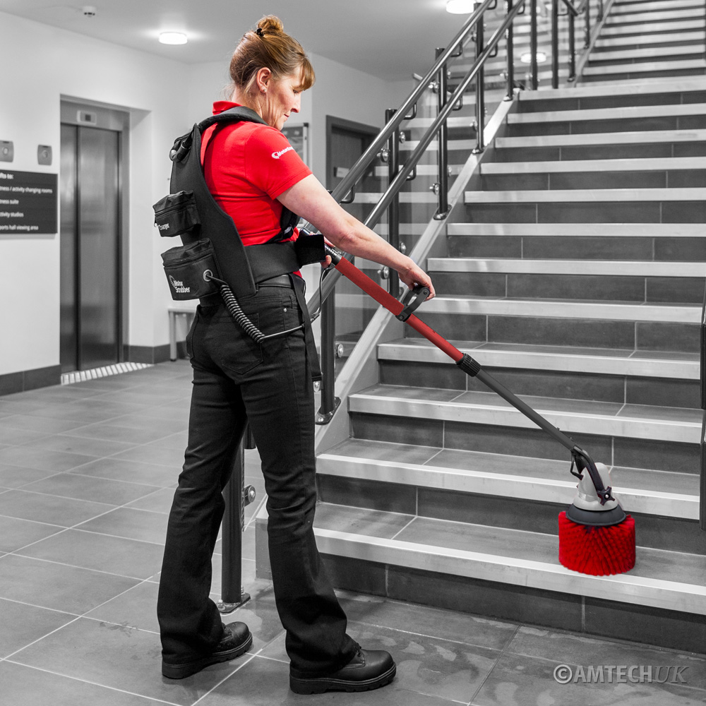 M3 MotorScrubber cleaning stairs