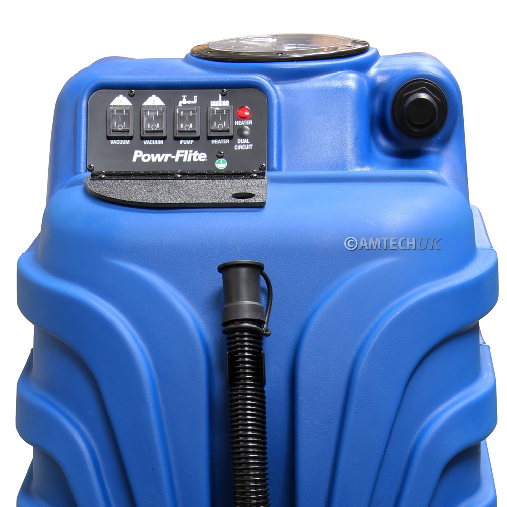 Close up of the Powr Flite PF1085 carpet cleaning machine control pannel