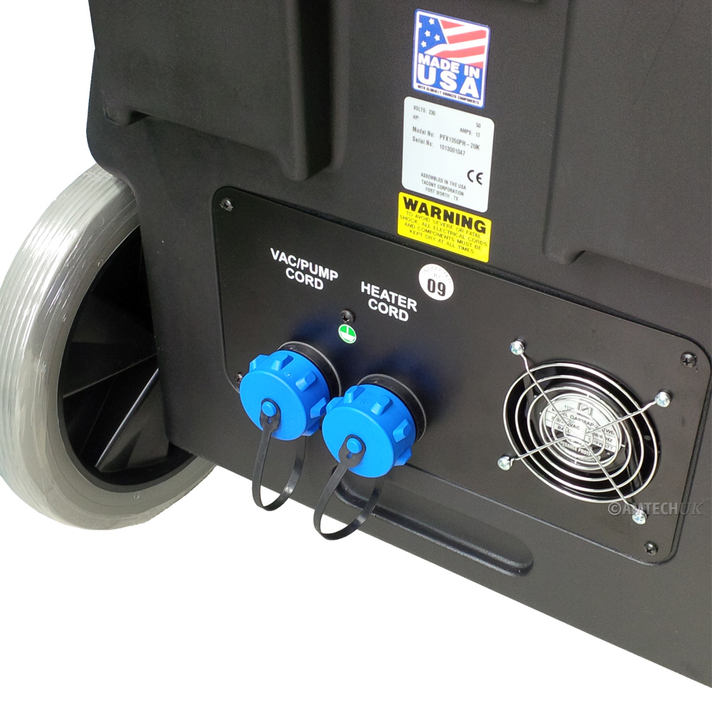 Power Flite PFX 1350 rear power connectors and cooling fan.