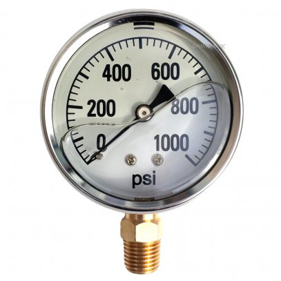 1000 PSI Pressure Gauge Bottom Mount