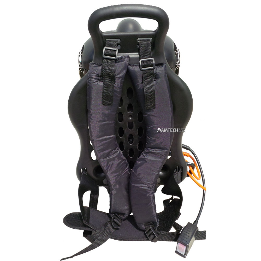 Backpack vacuum harnes and vented back.