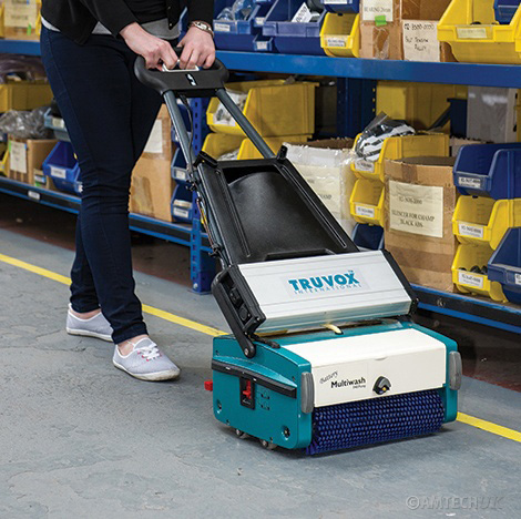 Truvox battery multiwash cleaning warehouse floors