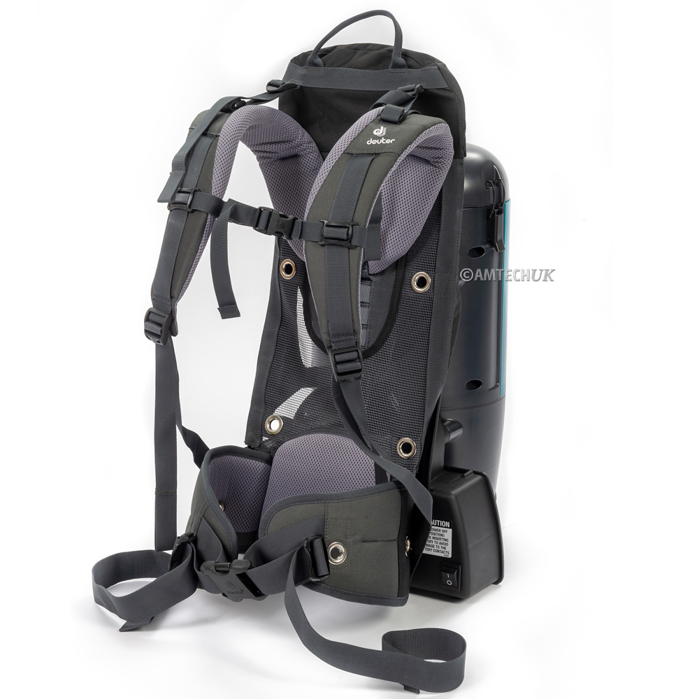Deuter harness on the Truvox battery backpack vacuum cleaner.