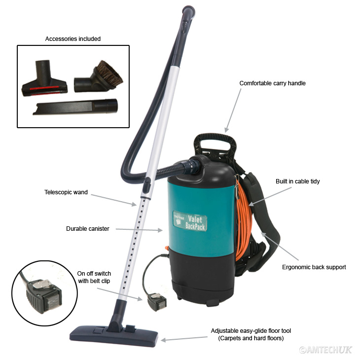 Detailed information of features built into the backpack vacuum cleaner