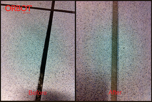 Tile grout cleaning before and after