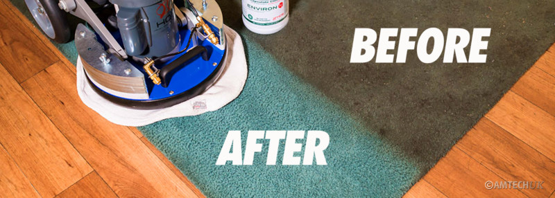 Environ HP Encapsulation Carpet Cleaner before and after cleaning.