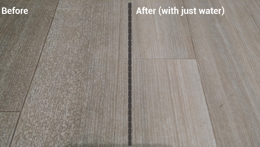 iVo RovaWash before and after cleaning results on wooden floor
