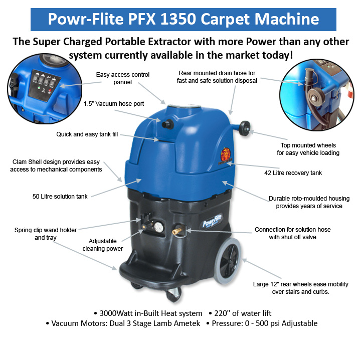 Detailed information for the Powr-Flite PFX1350 carpet cleaning machine